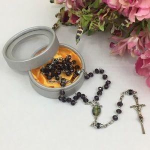 Dark Plum Glass Beads Rosary